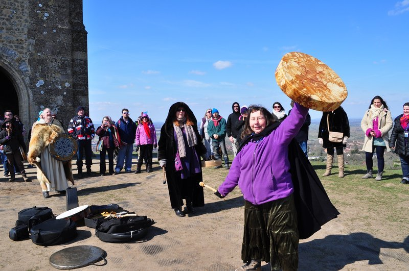 With the World Drum on Glastonbury Tor