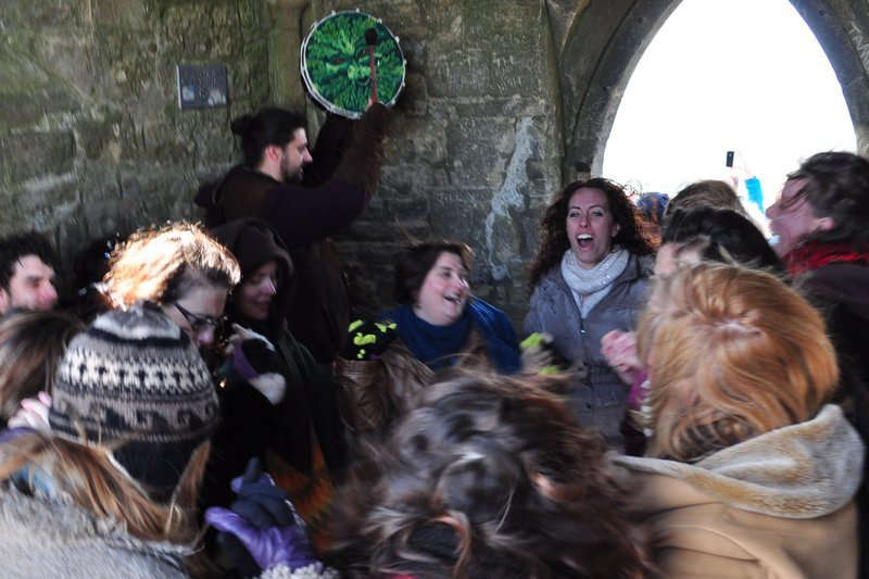 Drumming and dancing in St Michael's tower