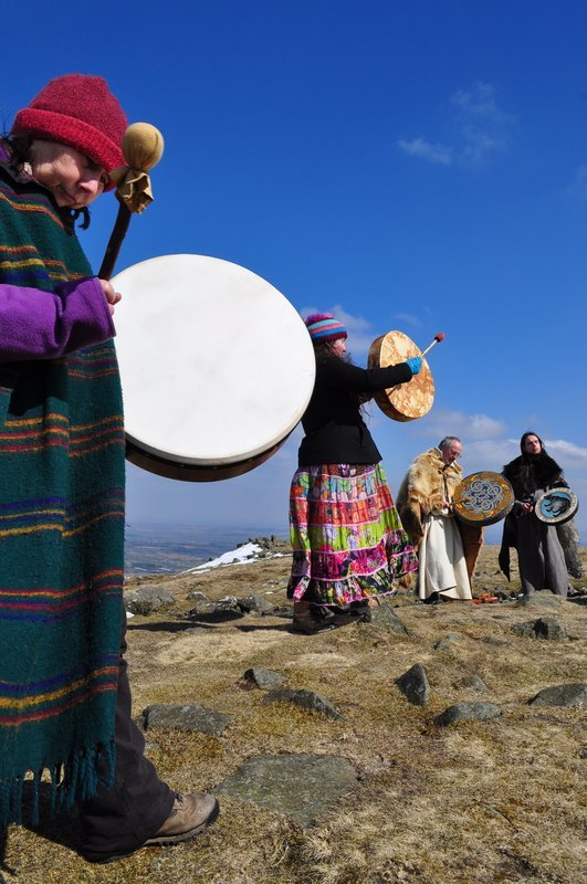 Drum Circle on Clee Hill