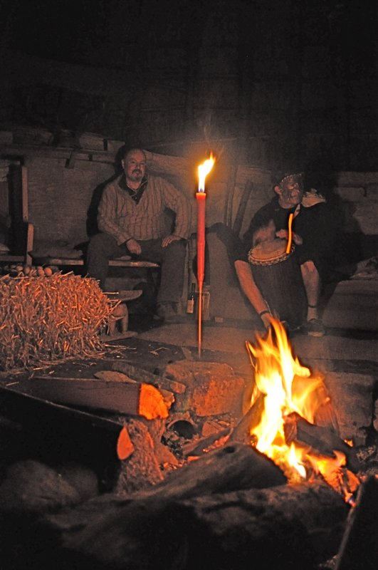 Evening in Cae Mabon roundhouse