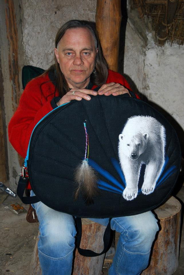 Will Rubach with painted drum bag in the Roundhouse