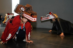 Quileute dancers wearing Wolf masks, from a public dance held in 2011.