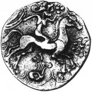 1st century Gaulish coin from which my Druid Tarot card was derived.