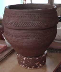 My completed collared urn, based on the one from Wilsford G7, just after I'd completed the decoration. Once fired, the colour of the clay will got to something similar to the original.