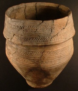 Bronze Age collared urn recovered from a bowl barrow excavated in the 19th century. It was found with a skeleton, probably that of a woman. The site, designated Wilsford G7, is about 16 miles from my home.